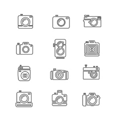 Vintage Photo Camera Icon Line Art vector image vector image