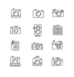 Vintage photo camera icon line art vector