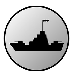 Warship button vector image