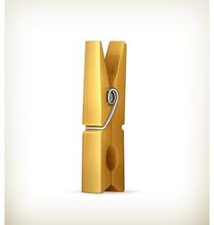 Wooden clothespin vector
