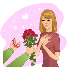 Young girl becomes present from a man vector image