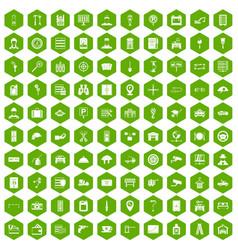 100 keys icons hexagon green vector image vector image