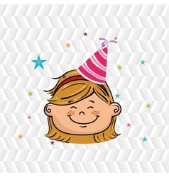 girl cartoon hat party vector image