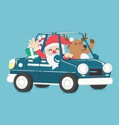 Santa claus drive a car full of christmas gift vector