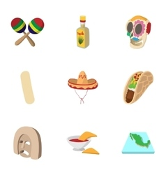 Holiday in mexico icons set cartoon style vector