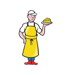 Cheesemaker holding plate of cheese vector