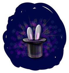 Magic hat with bunny ears vector