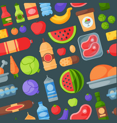 everyday food products seamless pattern background vector image