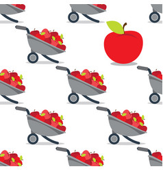 Garden wheelbarrow with apples seamless pattern vector