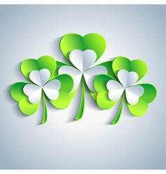 Patricks day holiday card with leaf clover 3d vector