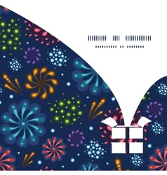 Holiday fireworks christmas gift box silhouette vector