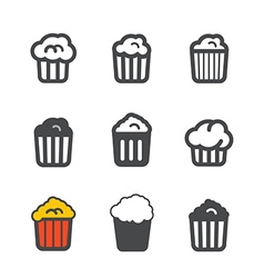 Different popcorn icons set vector