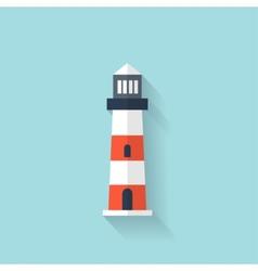 Flat lighthouse web icon vector image