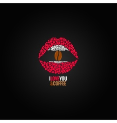 Coffee bean lips concept design background vector