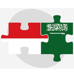 Indonesia and saudi arabia flags in puzzle vector