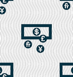 Currencies of the world icon sign seamless pattern vector