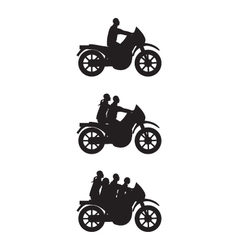 Black silhouettes of people on a motorbike vector