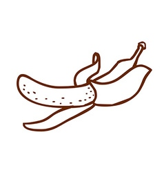 Hand drawn peeled banana vector