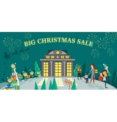 Big christmas sale glowing shop vector
