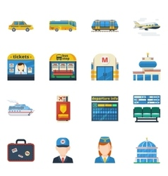 Passenger transportation flat icons vector