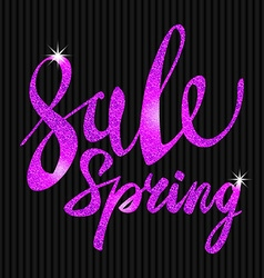 Spring sale purple pink violet inscription paint vector