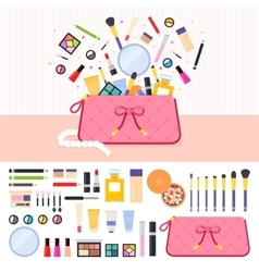 Make up bag full of cosmetics vector