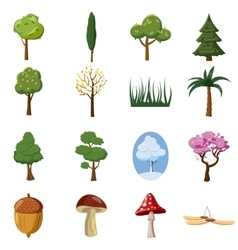 Forest icons set cartoon style vector