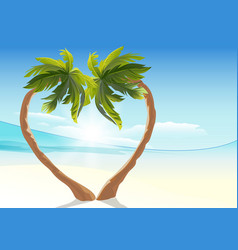 Two tropical palm curved into heart shape heart vector