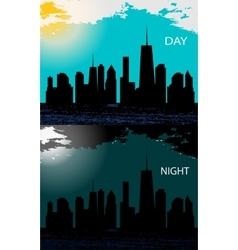 Day and night in modern flat design vector