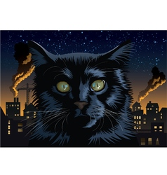Black cat town vector