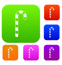 candy cane set color collection vector image