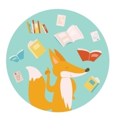 Cartoon fox with books vector image