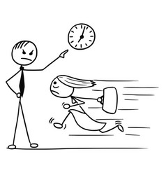 Cartoon of woman running late for work and his vector