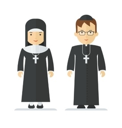 Catholic priest and nun vector