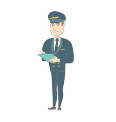 Caucasian steward holding clipboard with documents vector