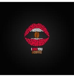 coffee bean lips concept design background vector image vector image