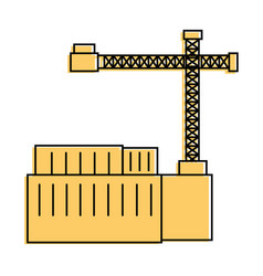 containers and industrial crane icon vector image