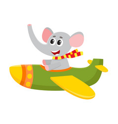 Cute funny elephant pilot character flying on vector
