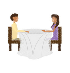 drawing couple sitting romantic dating vector image