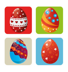Eggs painted easter celebration vector