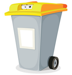 Eyes inside trash bin vector