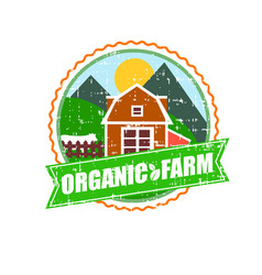Farm house concept logo template with farm vector