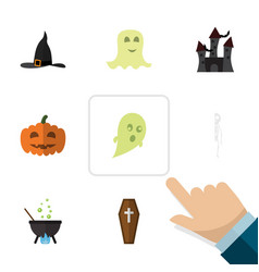 flat icon celebrate set of skeleton magic gourd vector image vector image
