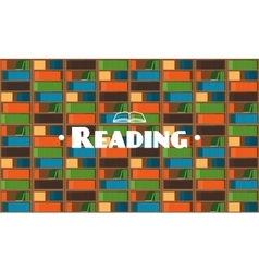 Flat style library background with books vector