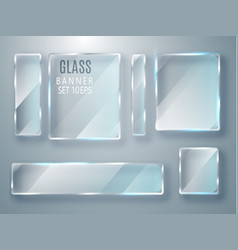 glass transparent banners set glass plates vector image vector image