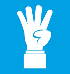 Hand showing number four icon white vector
