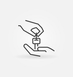 Hands with car key icon vector