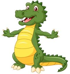 Happy cartoon crocodile posing vector