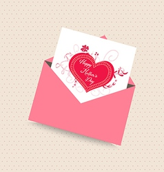 Happy mothers day card with envelope heart vector