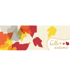 Hello autumn banner with dot pattern vector